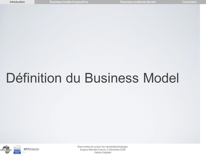 Rencontres du vivant: les nanobiotechnologies Espace Mendès France, 2 décembre 2009 Valérie Sabatier Définition du Business Model IntroductionConclusi