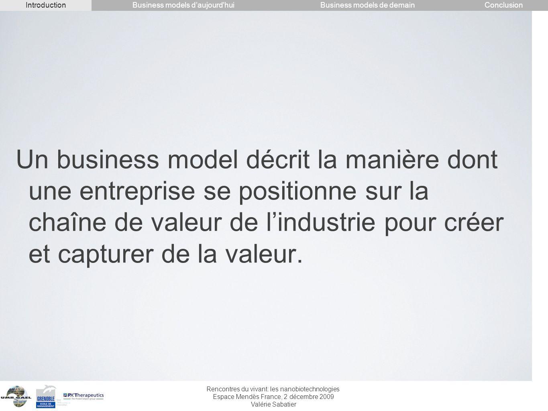 Rencontres du vivant: les nanobiotechnologies Espace Mendès France, 2 décembre 2009 Valérie Sabatier Un business model décrit la manière dont une entr