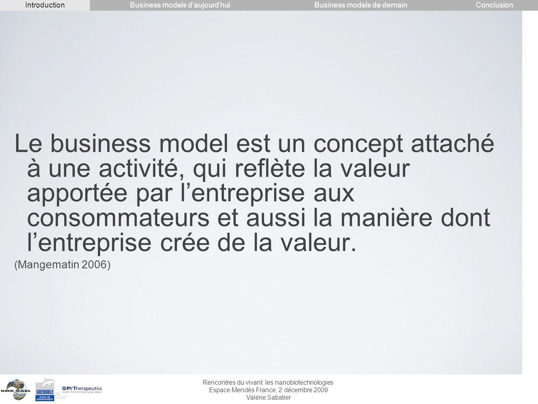 Rencontres du vivant: les nanobiotechnologies Espace Mendès France, 2 décembre 2009 Valérie Sabatier Le business model est un concept attaché à une ac
