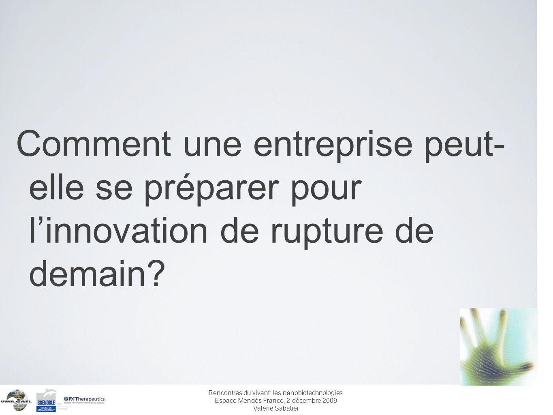 Rencontres du vivant: les nanobiotechnologies Espace Mendès France, 2 décembre 2009 Valérie Sabatier Comment une entreprise peut- elle se préparer pou