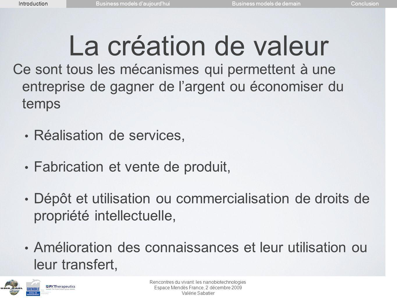 Rencontres du vivant: les nanobiotechnologies Espace Mendès France, 2 décembre 2009 Valérie Sabatier La création de valeur Ce sont tous les mécanismes