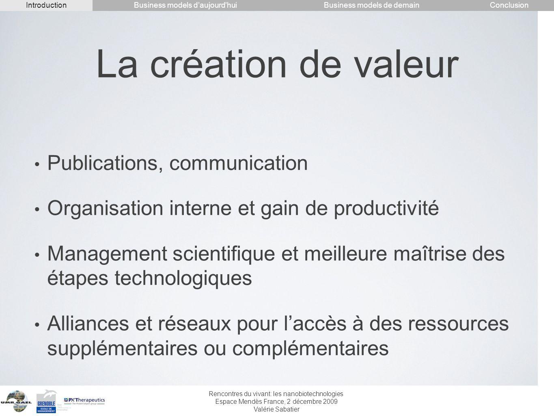 Rencontres du vivant: les nanobiotechnologies Espace Mendès France, 2 décembre 2009 Valérie Sabatier La création de valeur Publications, communication