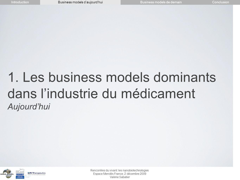 Rencontres du vivant: les nanobiotechnologies Espace Mendès France, 2 décembre 2009 Valérie Sabatier 1. Les business models dominants dans lindustrie