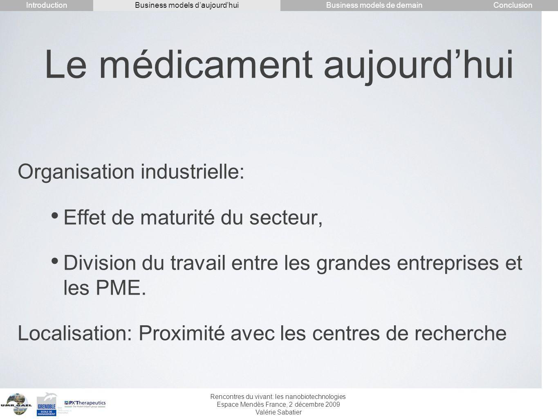 Rencontres du vivant: les nanobiotechnologies Espace Mendès France, 2 décembre 2009 Valérie Sabatier Le médicament aujourdhui Organisation industriell