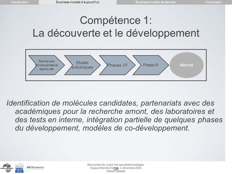 Rencontres du vivant: les nanobiotechnologies Espace Mendès France, 2 décembre 2009 Valérie Sabatier 28 Compétence 1: La découverte et le développemen
