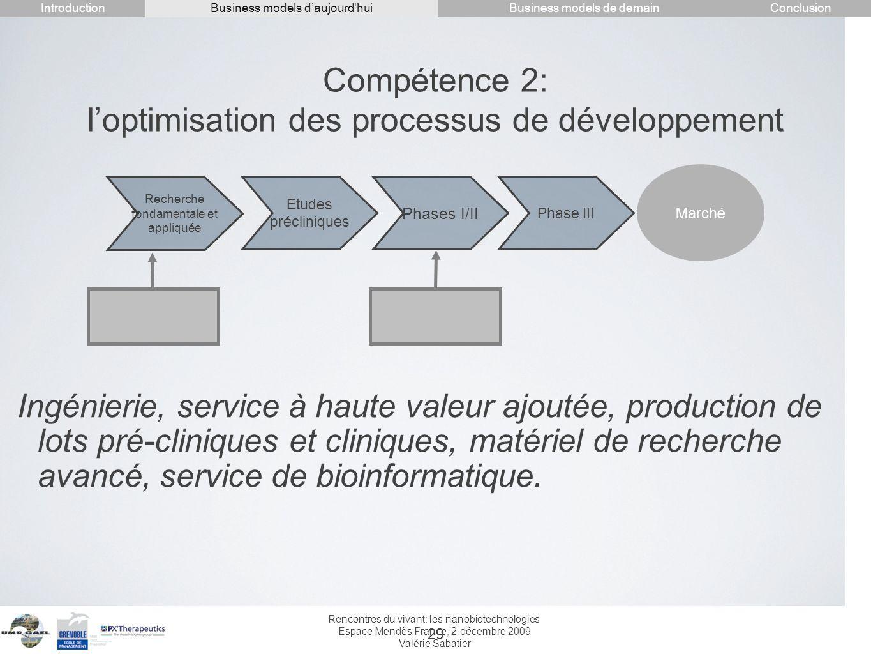 Rencontres du vivant: les nanobiotechnologies Espace Mendès France, 2 décembre 2009 Valérie Sabatier 29 Compétence 2: loptimisation des processus de d