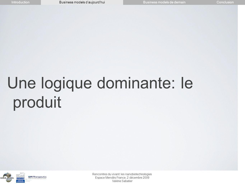 Rencontres du vivant: les nanobiotechnologies Espace Mendès France, 2 décembre 2009 Valérie Sabatier Une logique dominante: le produit IntroductionCon
