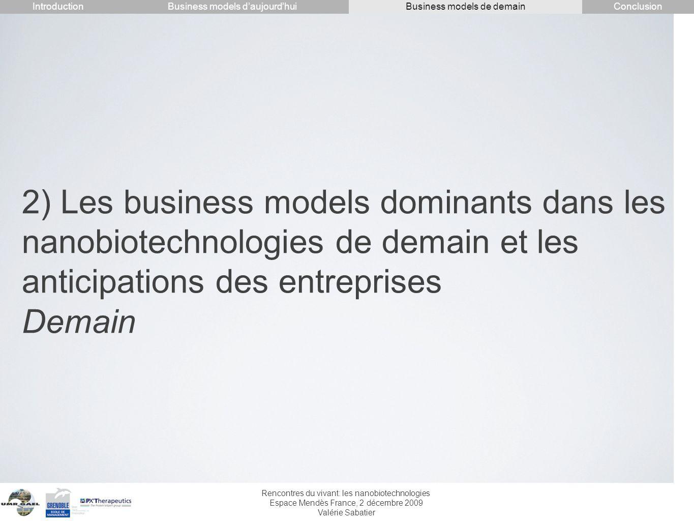 Rencontres du vivant: les nanobiotechnologies Espace Mendès France, 2 décembre 2009 Valérie Sabatier 2) Les business models dominants dans les nanobio