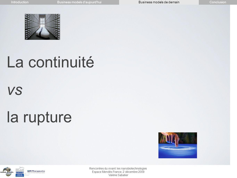 Rencontres du vivant: les nanobiotechnologies Espace Mendès France, 2 décembre 2009 Valérie Sabatier La continuité vs la rupture IntroductionConclusio