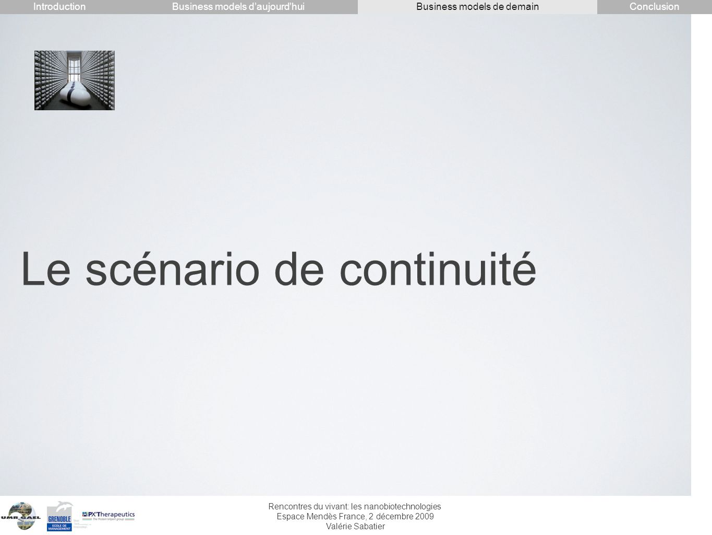 Rencontres du vivant: les nanobiotechnologies Espace Mendès France, 2 décembre 2009 Valérie Sabatier Le scénario de continuité IntroductionConclusionB