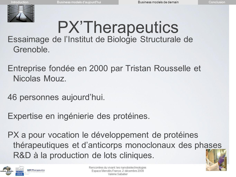 Rencontres du vivant: les nanobiotechnologies Espace Mendès France, 2 décembre 2009 Valérie Sabatier PXTherapeutics Essaimage de lInstitut de Biologie