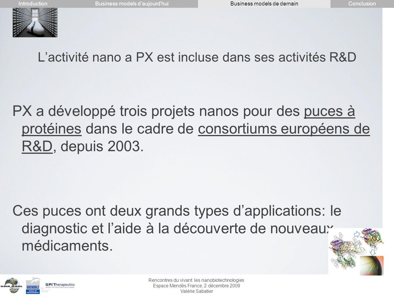 Rencontres du vivant: les nanobiotechnologies Espace Mendès France, 2 décembre 2009 Valérie Sabatier Lactivité nano a PX est incluse dans ses activité