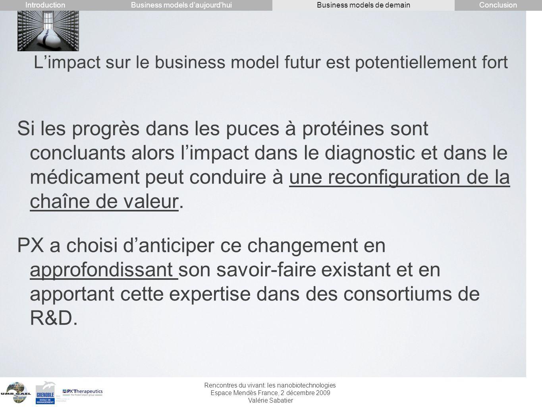 Rencontres du vivant: les nanobiotechnologies Espace Mendès France, 2 décembre 2009 Valérie Sabatier Limpact sur le business model futur est potentiel
