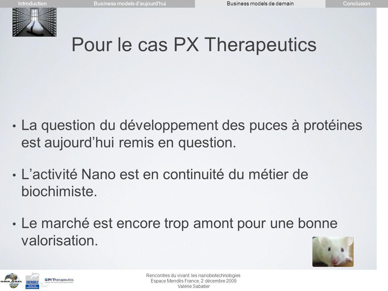 Rencontres du vivant: les nanobiotechnologies Espace Mendès France, 2 décembre 2009 Valérie Sabatier Pour le cas PX Therapeutics La question du dévelo