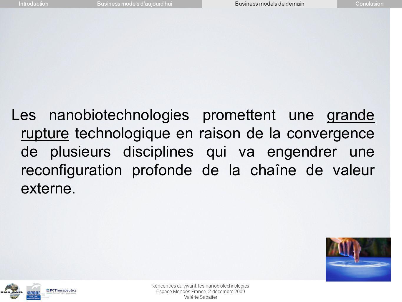 Rencontres du vivant: les nanobiotechnologies Espace Mendès France, 2 décembre 2009 Valérie Sabatier Les nanobiotechnologies promettent une grande rup