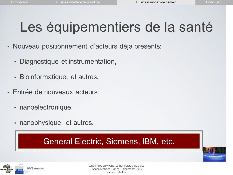 Rencontres du vivant: les nanobiotechnologies Espace Mendès France, 2 décembre 2009 Valérie Sabatier Les équipementiers de la santé Nouveau positionne
