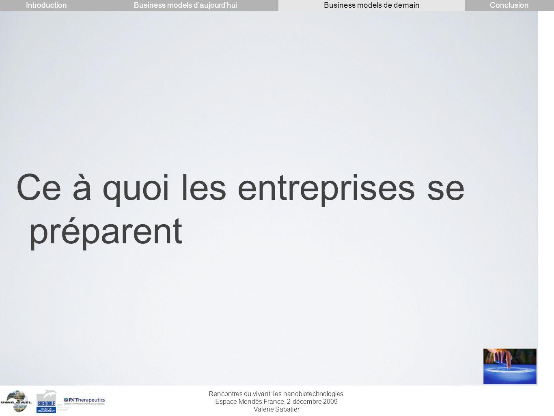Rencontres du vivant: les nanobiotechnologies Espace Mendès France, 2 décembre 2009 Valérie Sabatier Ce à quoi les entreprises se préparent Introducti