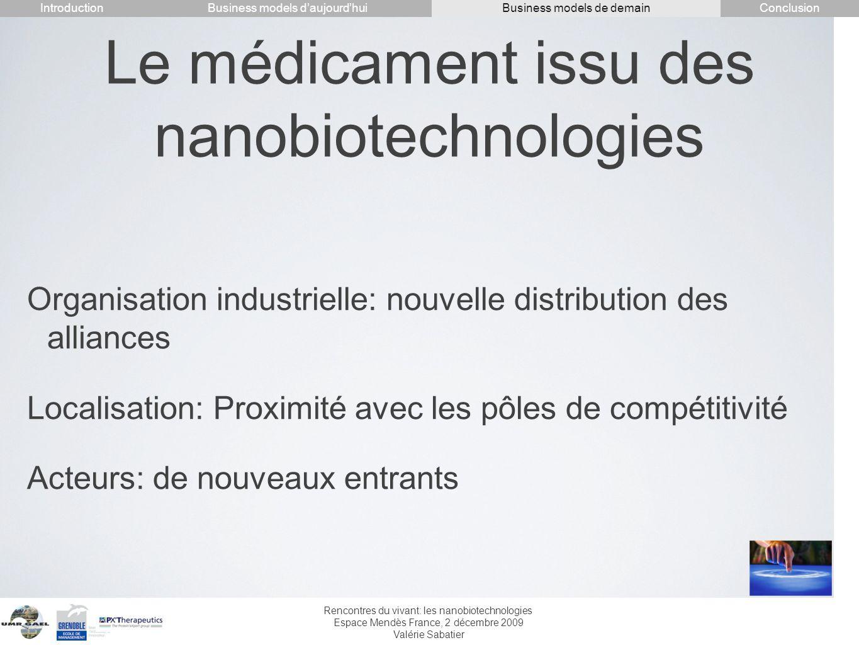 Rencontres du vivant: les nanobiotechnologies Espace Mendès France, 2 décembre 2009 Valérie Sabatier Le médicament issu des nanobiotechnologies Organi