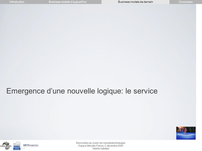 Rencontres du vivant: les nanobiotechnologies Espace Mendès France, 2 décembre 2009 Valérie Sabatier Emergence dune nouvelle logique: le service Intro