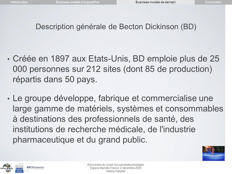 Rencontres du vivant: les nanobiotechnologies Espace Mendès France, 2 décembre 2009 Valérie Sabatier Créée en 1897 aux Etats-Unis, BD emploie plus de