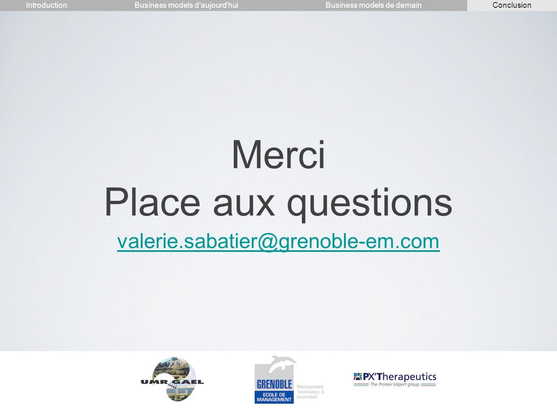 Merci Place aux questions valerie.sabatier@grenoble-em.com IntroductionConclusionBusiness models daujourdhuiBusiness models de demain