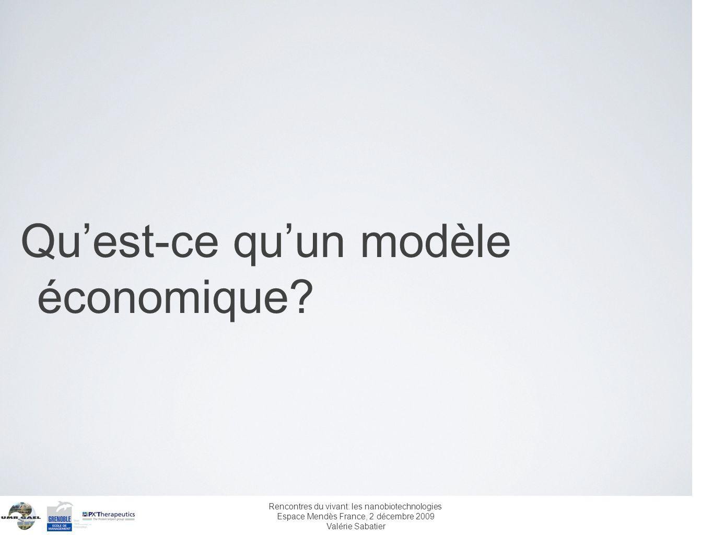Rencontres du vivant: les nanobiotechnologies Espace Mendès France, 2 décembre 2009 Valérie Sabatier Quest-ce quun modèle économique?