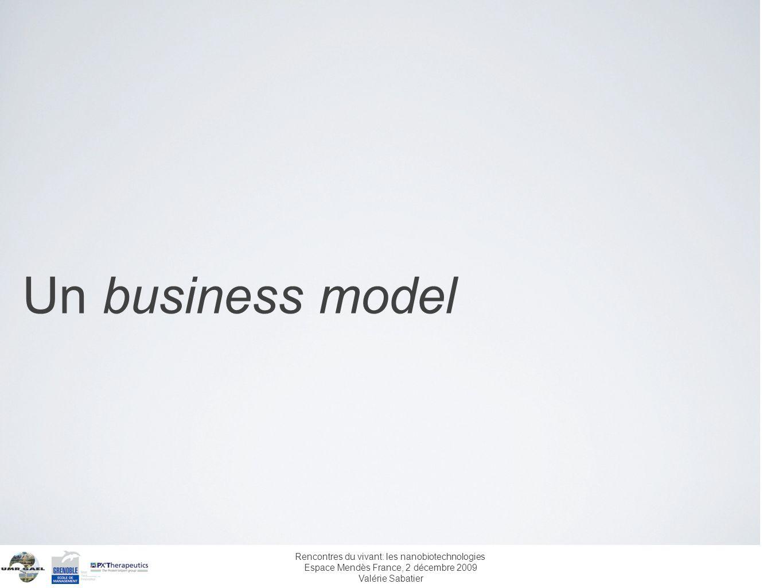 Rencontres du vivant: les nanobiotechnologies Espace Mendès France, 2 décembre 2009 Valérie Sabatier Un business model