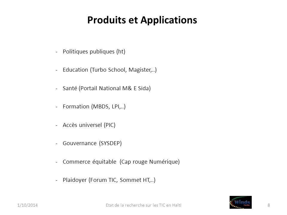 Produits et Applications -Politiques publiques (ht) -Education (Turbo School, Magister,..) -Santé (Portail National M& E Sida) -Formation (MBDS, LPI,.
