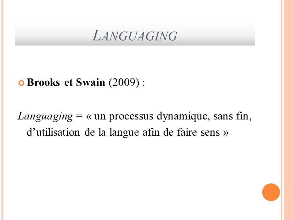 L ANGUAGING Brooks et Swain (2009) : Languaging = « un processus dynamique, sans fin, dutilisation de la langue afin de faire sens »