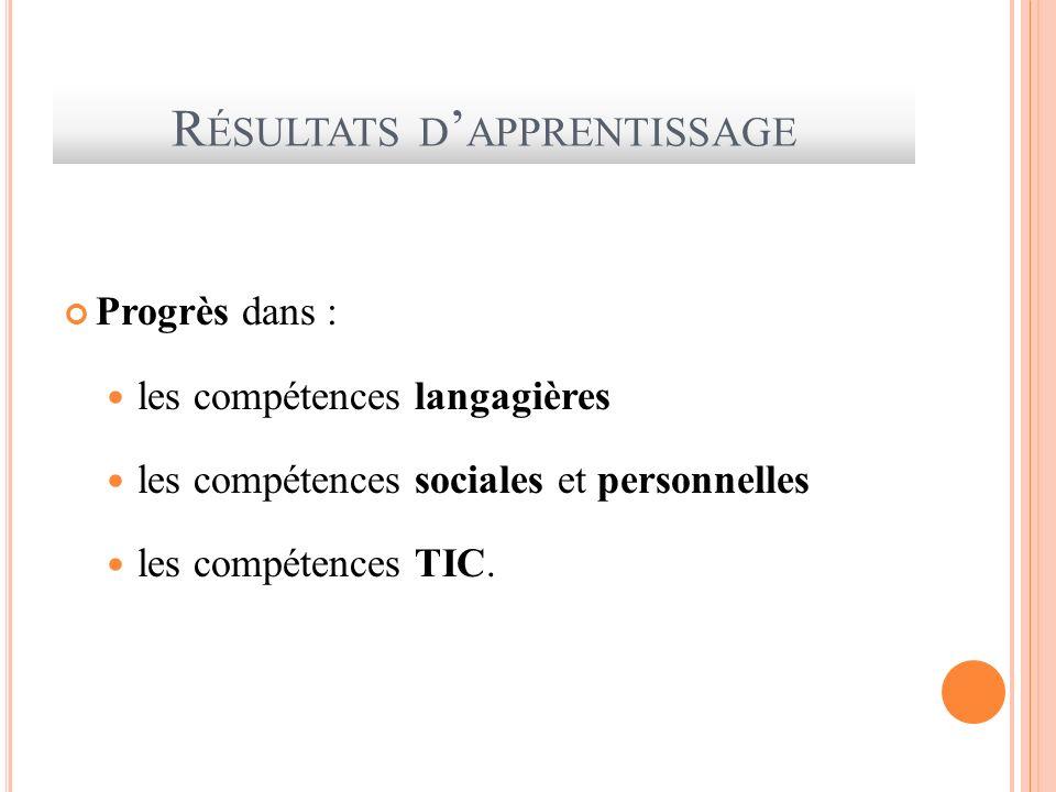 R ÉSULTATS D APPRENTISSAGE Progrès dans : les compétences langagières les compétences sociales et personnelles les compétences TIC.