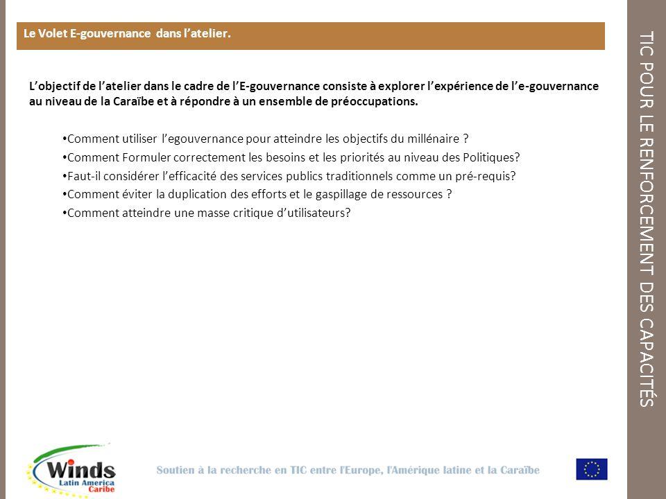 TIC POUR LE RENFORCEMENT DES CAPACITÉS Le Volet E-gouvernance dans latelier.