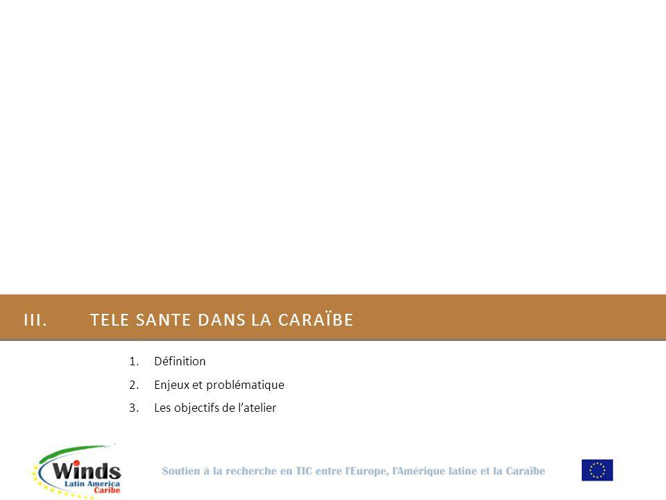 III. TELE SANTE DANS LA CARAÏBE 1.Définition 2.Enjeux et problématique 3.Les objectifs de latelier
