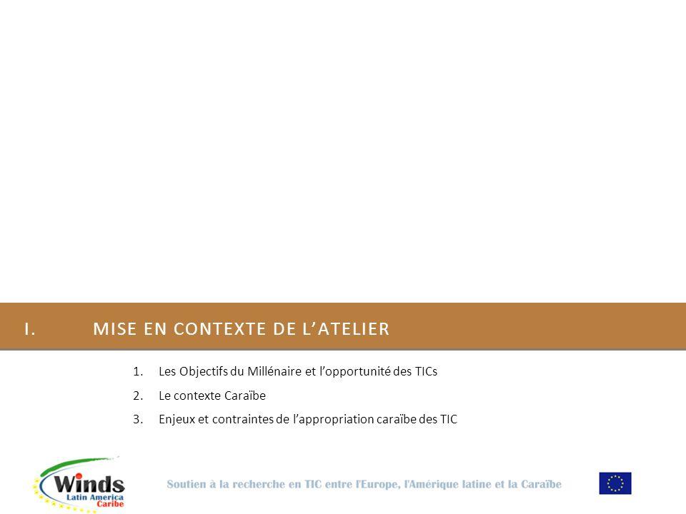 I.MISE EN CONTEXTE DE LATELIER 1.Les Objectifs du Millénaire et lopportunité des TICs 2.Le contexte Caraïbe 3.Enjeux et contraintes de lappropriation caraïbe des TIC