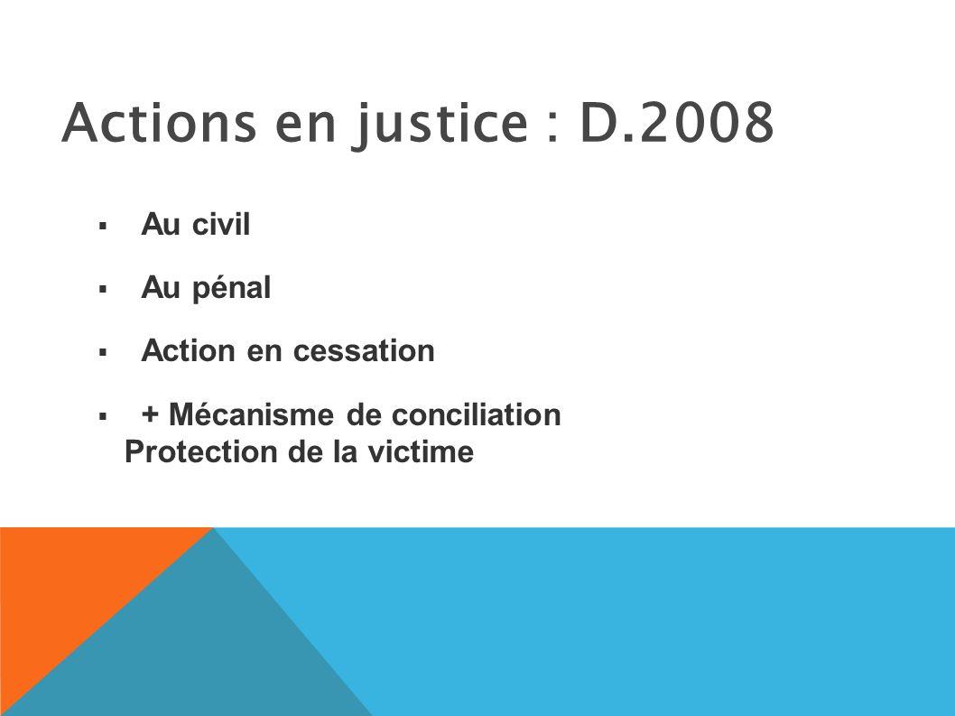 Actions en justice : D.2008 Au civil Au pénal Action en cessation + Mécanisme de conciliation Protection de la victime