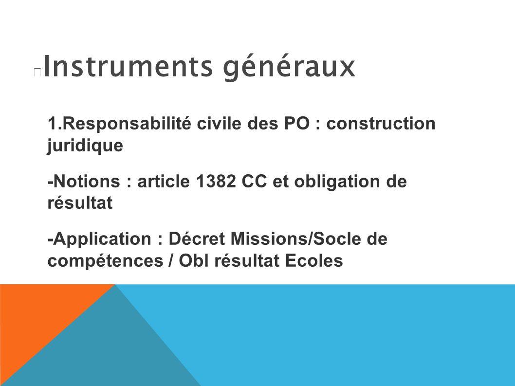Instruments généraux 1.Responsabilité civile des PO : construction juridique -Notions : article 1382 CC et obligation de résultat -Application : Décret Missions/Socle de compétences / Obl résultat Ecoles