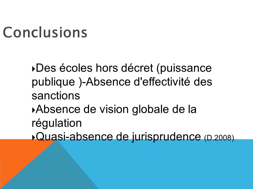 Conclusions Des écoles hors décret (puissance publique )-Absence d effectivité des sanctions Absence de vision globale de la régulation Quasi-absence de jurisprudence (D.2008)