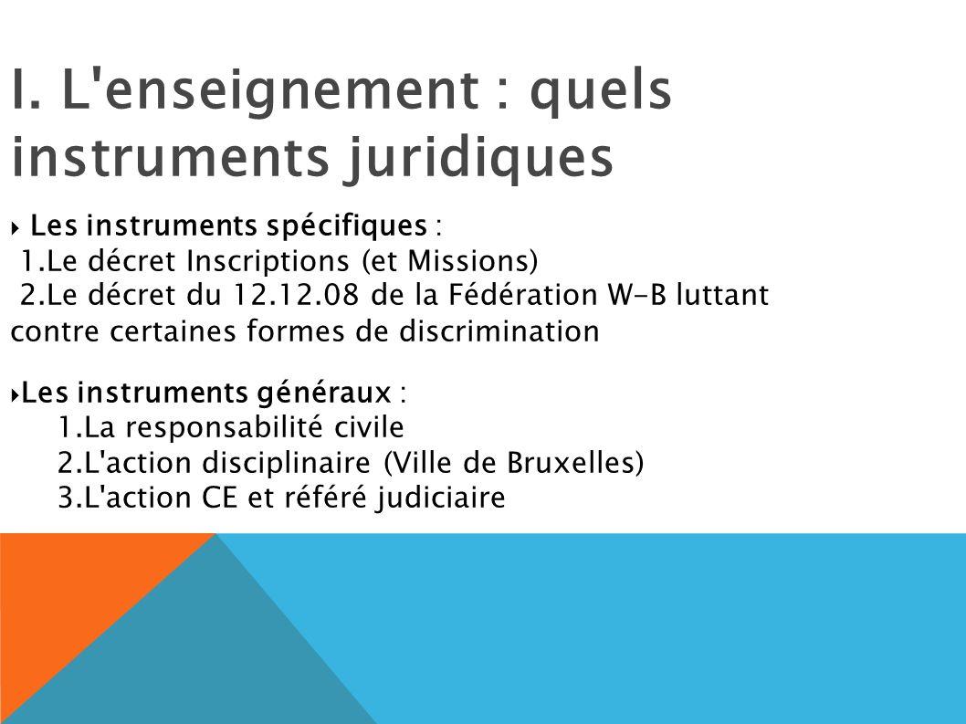 I. L'enseignement : quels instruments juridiques Les instruments spécifiques : 1.Le décret Inscriptions (et Missions) 2.Le décret du 12.12.08 de la Fé