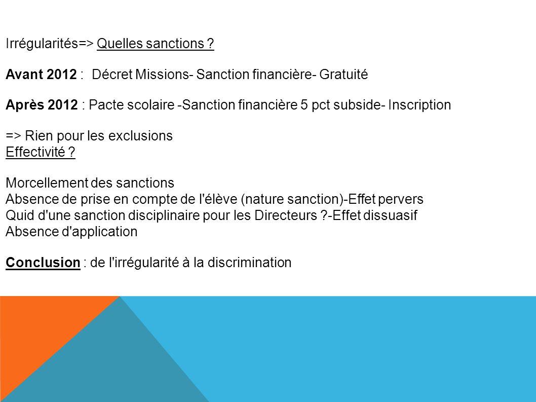 Irrégularités=> Quelles sanctions .