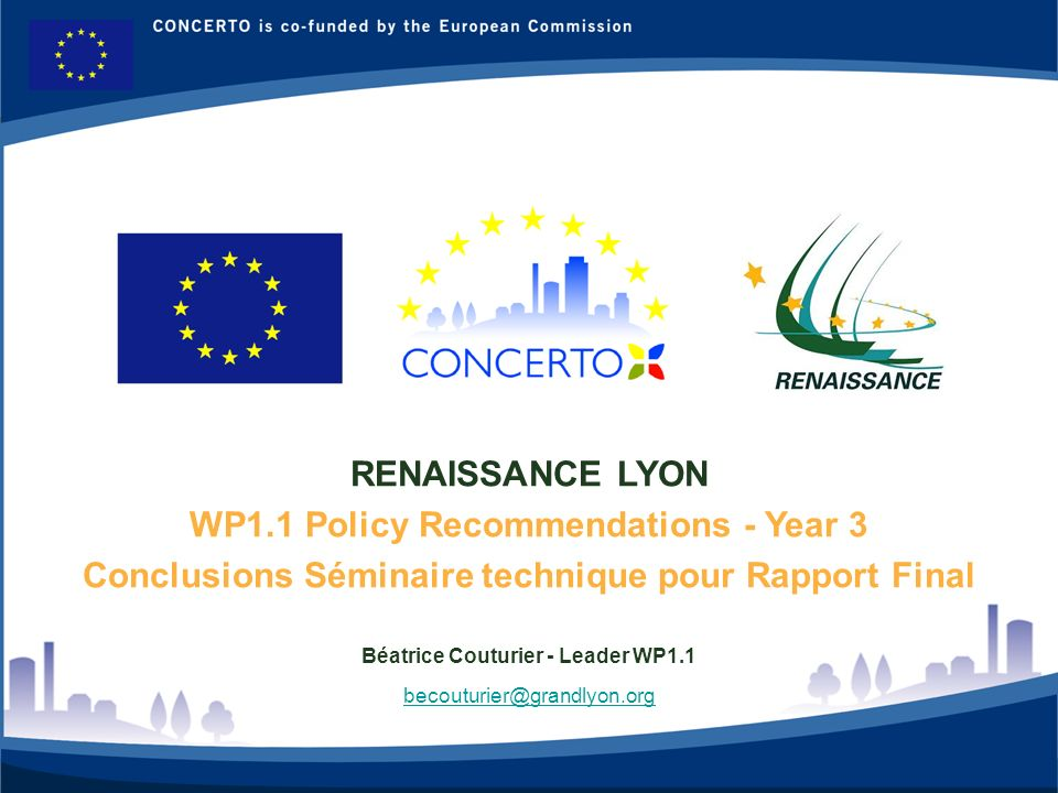 RENAISSANCE : a CONCERTO project financed by the European Commission on tne six framework programme RENAISSANCE - LYON - FRANCE 1 RENAISSANCE LYON WP1