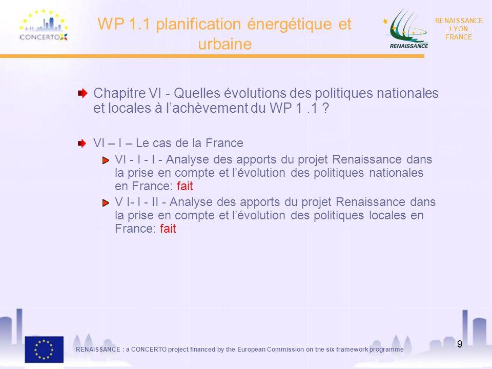RENAISSANCE : a CONCERTO project financed by the European Commission on tne six framework programme RENAISSANCE - LYON - FRANCE 9 WP 1.1 planification