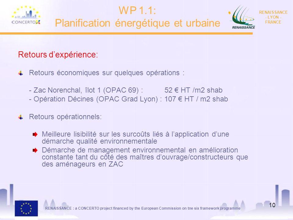 RENAISSANCE : a CONCERTO project financed by the European Commission on tne six framework programme RENAISSANCE - LYON - FRANCE 10 Retours dexpérience