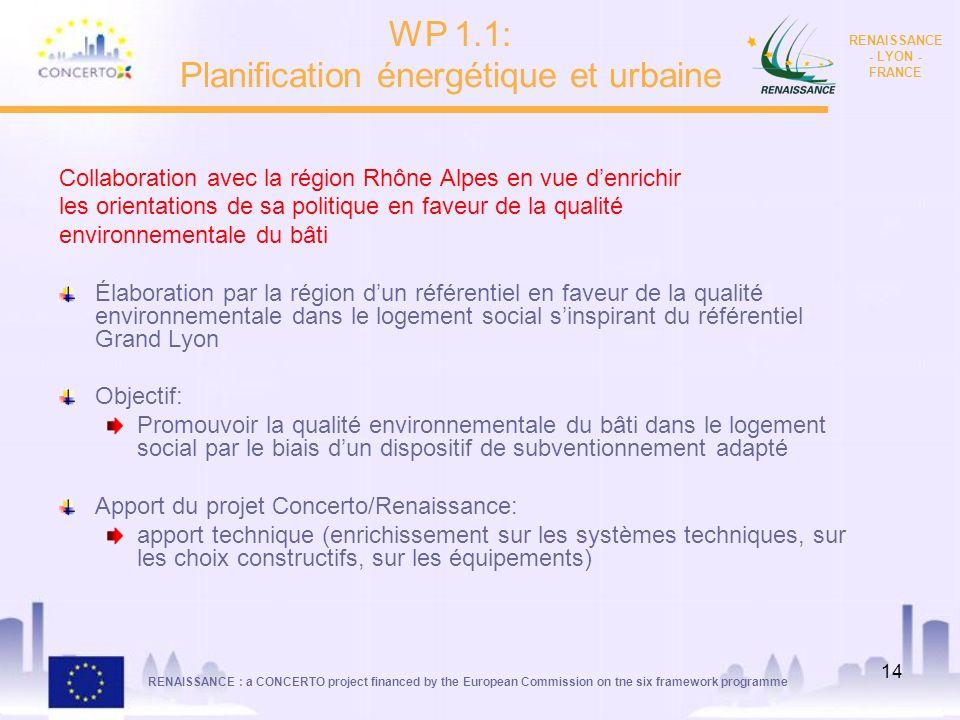 RENAISSANCE : a CONCERTO project financed by the European Commission on tne six framework programme RENAISSANCE - LYON - FRANCE 14 Collaboration avec