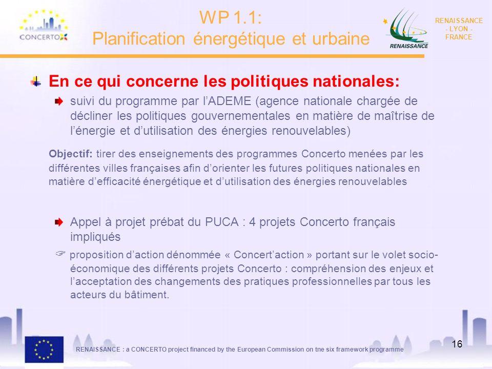 RENAISSANCE : a CONCERTO project financed by the European Commission on tne six framework programme RENAISSANCE - LYON - FRANCE 16 En ce qui concerne