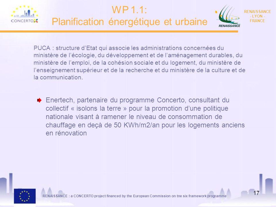 RENAISSANCE : a CONCERTO project financed by the European Commission on tne six framework programme RENAISSANCE - LYON - FRANCE 17 PUCA : structure dE