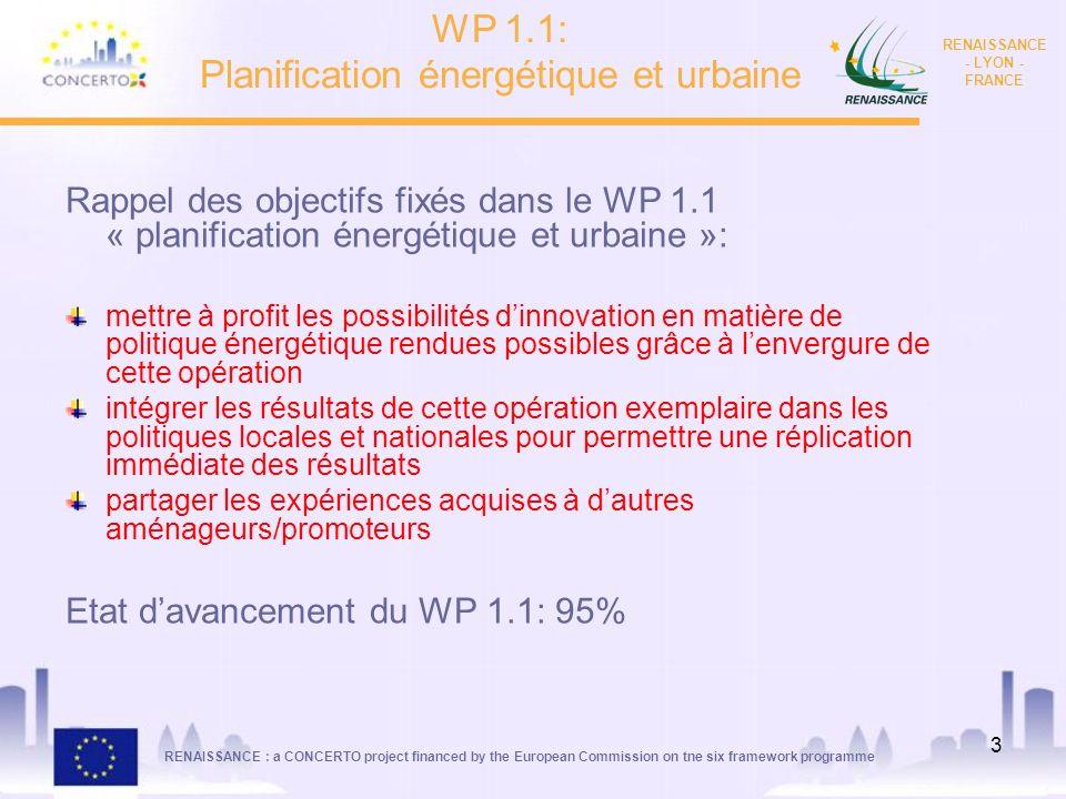 RENAISSANCE : a CONCERTO project financed by the European Commission on tne six framework programme RENAISSANCE - LYON - FRANCE 3 WP 1.1: Planificatio