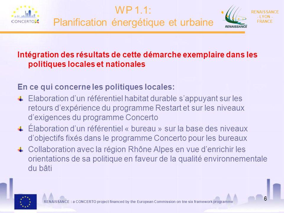 RENAISSANCE : a CONCERTO project financed by the European Commission on tne six framework programme RENAISSANCE - LYON - FRANCE 6 Intégration des résu