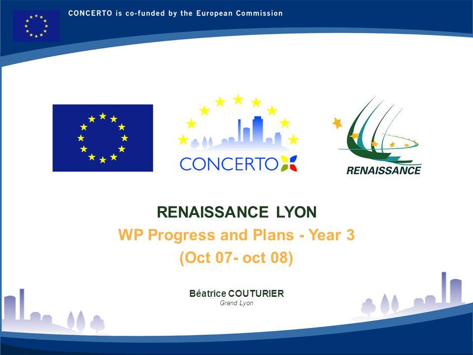 RENAISSANCE : a CONCERTO project financed by the European Commission on tne six framework programme RENAISSANCE - LYON - FRANCE 2 WP 4: Dissémination et promotion Grand-Lyon: Béatrice Couturier