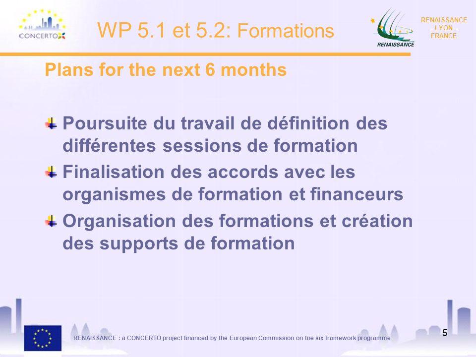 RENAISSANCE : a CONCERTO project financed by the European Commission on tne six framework programme RENAISSANCE - LYON - FRANCE 5 Plans for the next 6