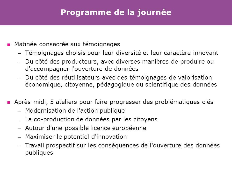 Programme de la journée Matinée consacrée aux témoignages – Témoignages choisis pour leur diversité et leur caractère innovant – Du côté des producteu