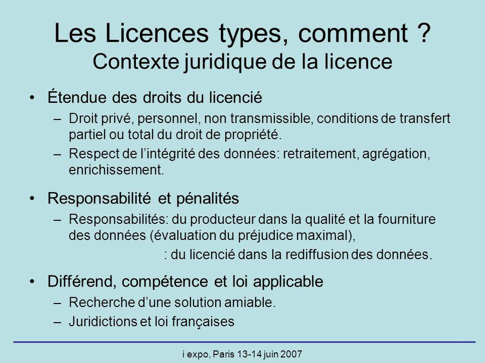 i expo, Paris 13-14 juin 2007 Les Licences types, comment ? Contexte juridique de la licence Étendue des droits du licencié –Droit privé, personnel, n
